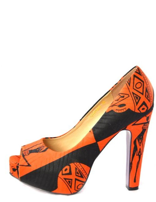 side view of an african print peep toe shoe by buqisi-ruux